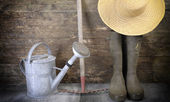 Garden tools against old wooden wall — Stock Photo