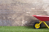 Wheelbarrow on grass against wooden wall — Stock Photo