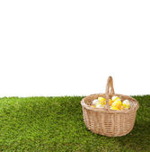 Basket with easter eggs on grass , isolated on white — Stock Photo