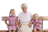 Greatgrandmother and greatgrand children — Stock Photo