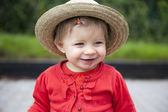 Toddler with hand , foot and mouth disease, outdoors. — Stock Photo