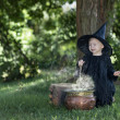Stock Photo: Little halloween witch outdoors with cauldron