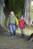Brother and sister walking in the woods — Stock Photo