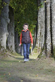 Boy walking in the forest — Stock Photo