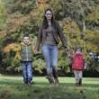 Mother and children walking in the park — Stock Photo