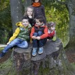 A group of children playing on a trunk — Stock Photo #34767035