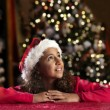 Girl with christmas hat  — Stock Photo