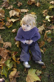 Top view of a little toddler outdoors — Stock Photo