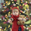 Little toddler in front of a christmas tree — Stok fotoğraf