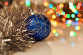 Colorful christmas ball on new year's lights bokeh background — Stok fotoğraf