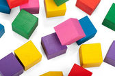 Wooden blocks, stack of colorful cubes, childrens toy isolated o — 图库照片