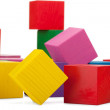 Wooden blocks, stack of colorful cubes, childrens toy isolated o — Stock Photo #41568587