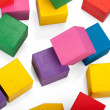 Wooden blocks, stack of colorful cubes, childrens toy isolated o — Stock Photo #41568647