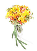 Bunch of spring flowers in a vase isolated on white background — Stock Photo