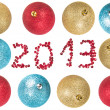Christmas balls around number 2013 — Stock Photo
