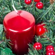 Red christmas candle — Stock Photo