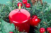 Kerst kaars en decoratie — Stockfoto