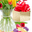 Easter tulips and eggs — Stock Photo