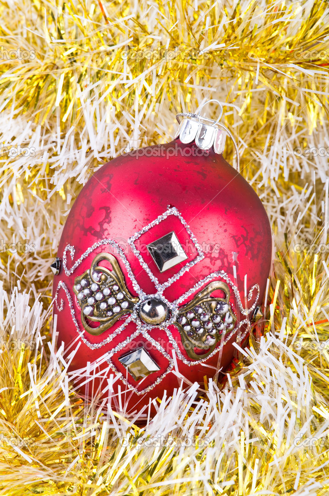 Red ball and christmas decoration. — Stock Photo #12393674