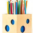 Pencils in holder — Stock Photo