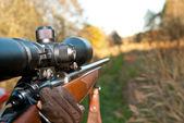 Aimong con rifle — Foto de Stock