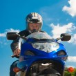 Biker on motorscycle — Stock Photo