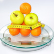 Stock Photo: Fruits on scales