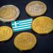 Greek  flag and euro — Stock Photo