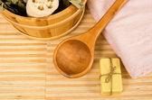 Sauna bucket, spoon and towel — Stock Photo