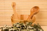 Vassoura e balde de sauna — Fotografia Stock