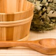 Saunbucket and wooden spoon — Stock Photo #16281777