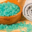 Blue bath salt in spoon — Stock Photo #16925121