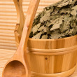 Wooden sauna bucket and spoon — Stock Photo