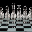 Chess board over black — Stock Photo