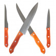 Kitchen knives isolated over white — Stock Photo