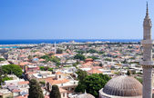 Panoramic view of Rhodes old town — Stock Photo