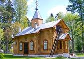 Small wooden orthodox church — Stock Photo