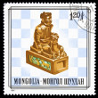 Mongolia stamp king chess piece — Stock Photo