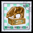 Mongolia stamp knight chess piece — Stock Photo