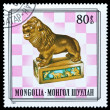 Mongolia stamp, queen chess piece — Stock Photo