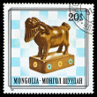 Mongolia stamp, pawn chess piece — Stock Photo