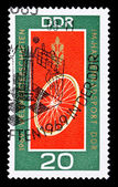 GDR stamp, track cycling — 图库照片