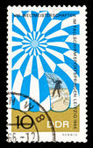 GDR stamp parachute jumping — Stock Photo