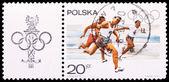 Poland stamp, men's 100-meter race — Stock fotografie