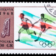 Poland stamp, athletics — Stock Photo