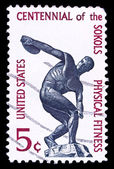USA stamp, Centennial of the Sokols physical fitness — Stock Photo