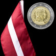 National flag of Latviand euro coin — Stock Photo #37759279