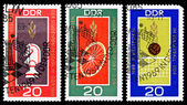 DDR stamps, world championships in East Germany — Foto de Stock