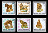 Set of Mongolia stamps, wooden chess pieces — ストック写真