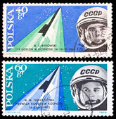 Poland stamps, Space flight of Valeri Bykowski and Valentina Ter — ストック写真